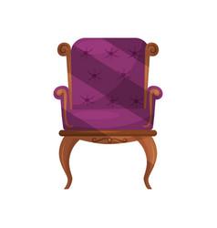 Armchair with purple velvet trim classic wooden vector