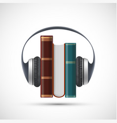 audiobooks concept headphones on a stack books vector image