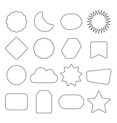 black outline isolated kids shapes icons set vector image