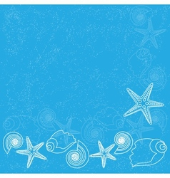 Blue background with sea life vector image