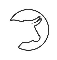 bull line vector image