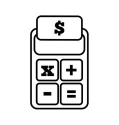 calculator finance money office line vector image