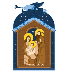 Christmas nativity scene holy family and angel vector