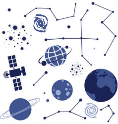 collection of space elements vector image