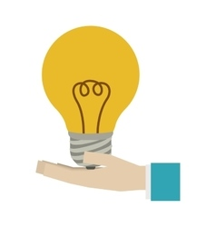 Colorful silhouette light bulb with hand vector