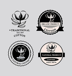 Cotton icons natural product vector image