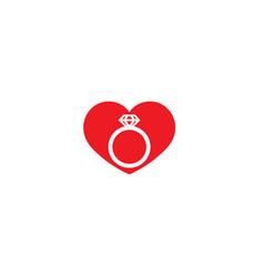 Creative heart ring love wedding logo design vector