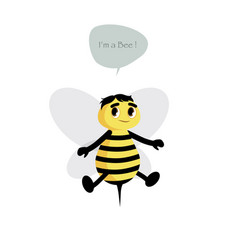 Cute bee isolated on white background and speech vector