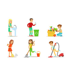Cute children doing housework set boys and girls vector