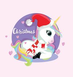 cute christmas comic unicorn hand drawn cute vector image