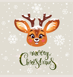cute deer winter vector image
