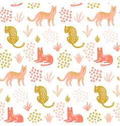 cute seamless pattern with leopards tropical vector image