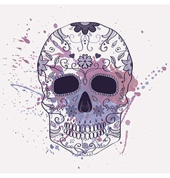 Day of the Dead skull with ornament and w vector