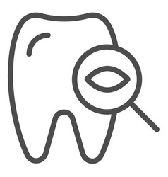 Dental examination tooth line icon dental checkup vector