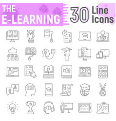 E learning thin line icon set online education vector