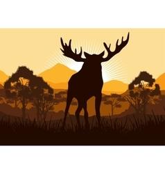 Elk in wild nature landscape vector
