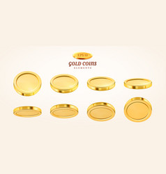 Empty 3d gold coins set isolated vector