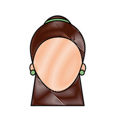female face cartoon woman profile people vector image