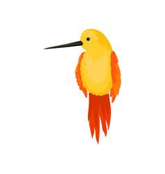 Flat icon beautiful hummingbird yellow vector