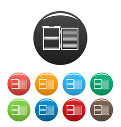 Fridge icons set color vector