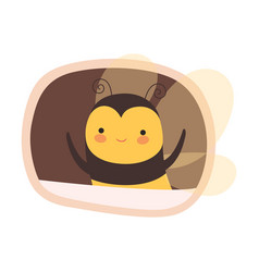 Funny bee peeped out from tree hollow vector