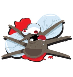 Funny Splatted Mosquito vector image
