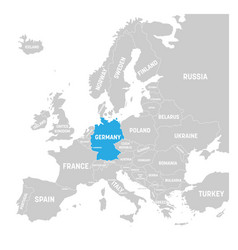 Germany marked blue in grey political map vector