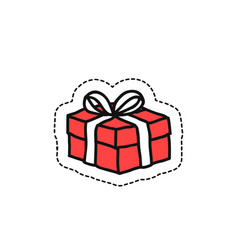 gift box doodle icon vector image