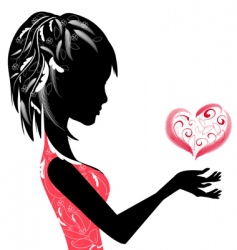 girl and the Valentine's vector image