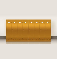 gold lockers school or gym changing room vector image