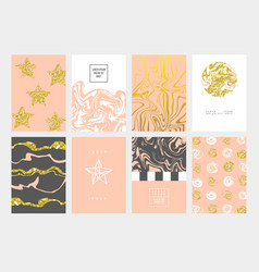 Golden abstract cards design pastel colors vector
