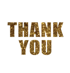 Golden glitter isolated word thank you vector