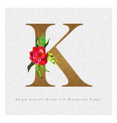 Golden letter k watercolor floral background vector