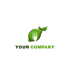 green lemonade and fork healthy food logo designs vector image