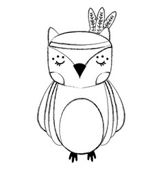 Grunge cute owl animal with feathers design vector