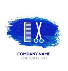 Hair comb and scissor icon - blue watercolor vector