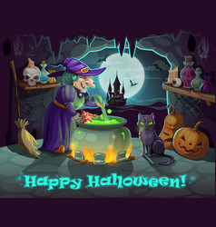 Halloween witch pumpkin and potion cauldron vector
