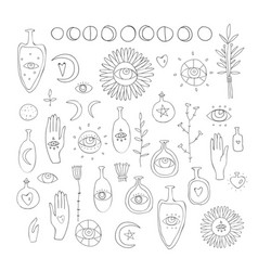 Hand drawn design elements drawing of esoteric vector