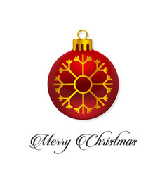 happy christmas happy new year red detailed ball vector image