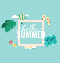Hello summer square blue sky background ima vector