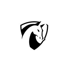 horse head shield logo icon vector image