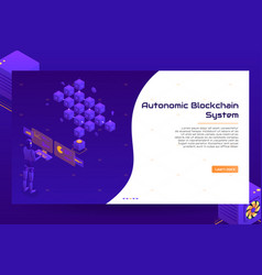Isometric blockchain technology banner concept vector