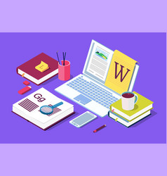 isometric concept for blog blogging concept vector image
