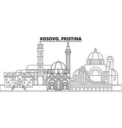 Kosovo pristina line skyline vector