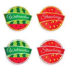 label of fruit watermelon and strawberry design vector image