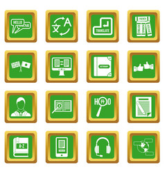 Learning foreign languages icons set green vector