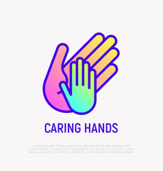 little hand in big caring thin line icon vector image