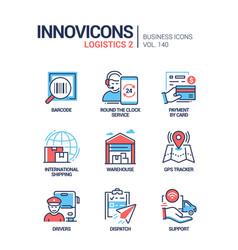 logistics - colorful line design style icons set vector image