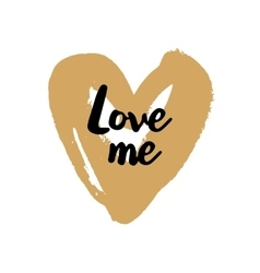 Love Me Valentine on golden heart vector image