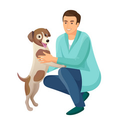 Man and friendly happy dog vector